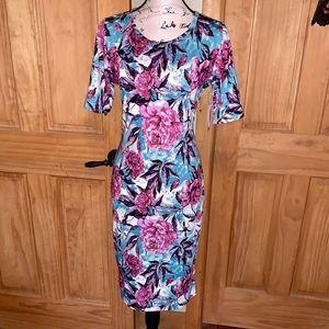 NWT M LLR Pink Floral Printed Julia Sheath Dress